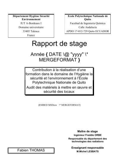 Rapport De Stage Le Département Hse De L Iut De Bordeaux