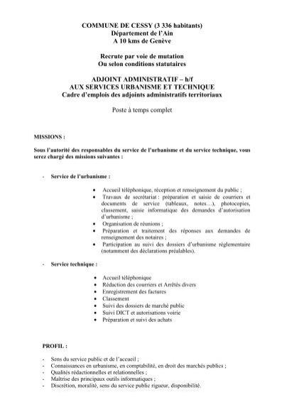 Offre d emploi adjoint administratif
