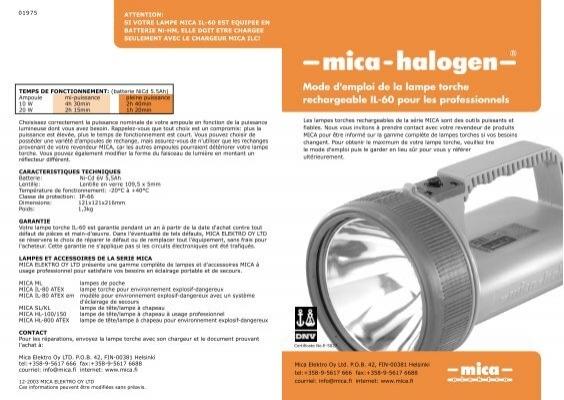 Mode d 39 emploi de la lampe torche rechargeable il 60 pour les Mode d emploi lampe berger