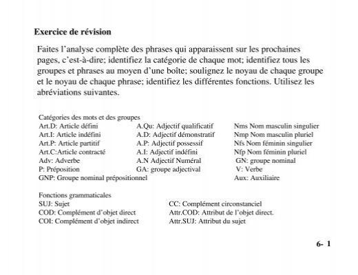 Exercice De Revision Faites L Analyse Complete Des Phrases Qui