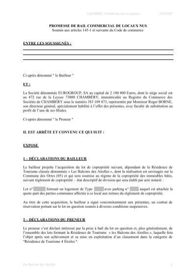 1 Promesse De Bail Commercial De Locaux Nus Cn2i