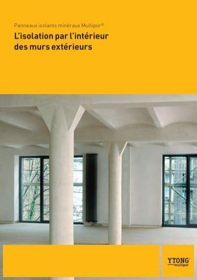 brochure l 39 isolation par l 39 int rieur des murs ext rieurs ytong. Black Bedroom Furniture Sets. Home Design Ideas