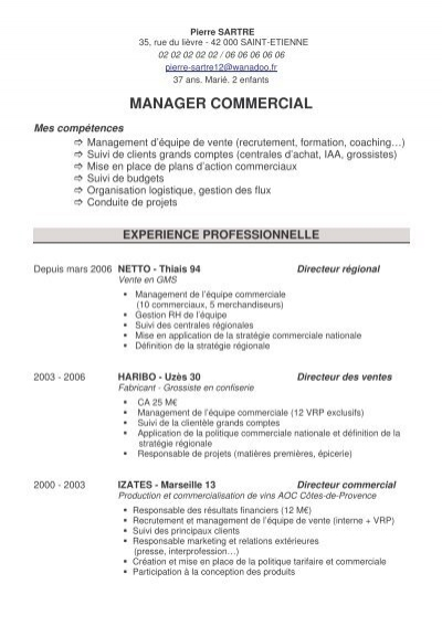 cv manager commercial