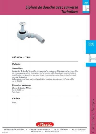 Siphon de douche avec surverse turboflow nicoll bigmat for Siphon de douche nicoll