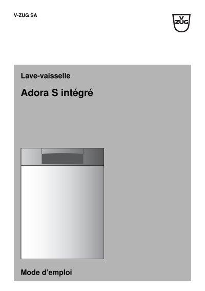 lave vaisselle adora s int gr mode d 39 emploi v zug ltd. Black Bedroom Furniture Sets. Home Design Ideas