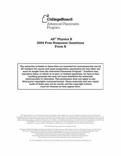 2004 AP Physics B Free Response Questions Form B AP