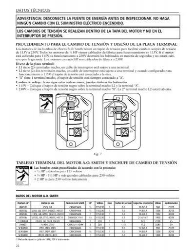 Datos t cnicos advertenc for Palm beach electric motors