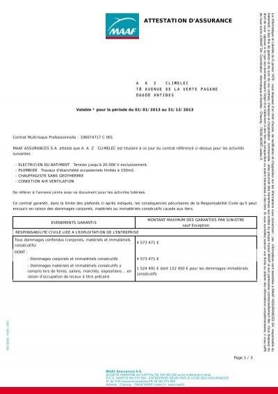 attestation assurance multirisque 2013 climatic 39 elec. Black Bedroom Furniture Sets. Home Design Ideas