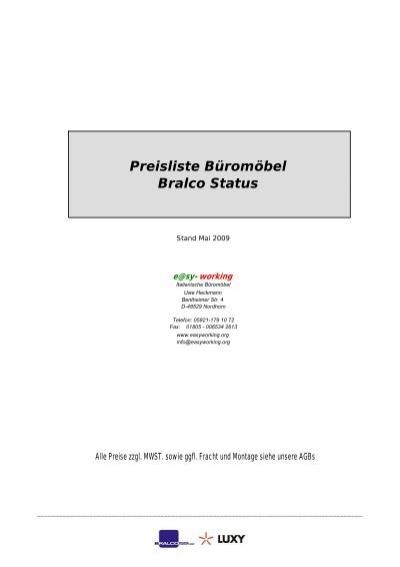 Preisliste Buromobel Bralco Status Easyworking