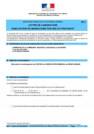 lettre de candidature