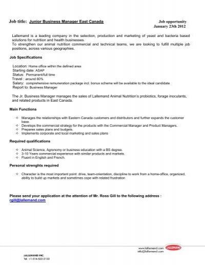 Job Posting Template Vosvetenet – Business Manager Job Description