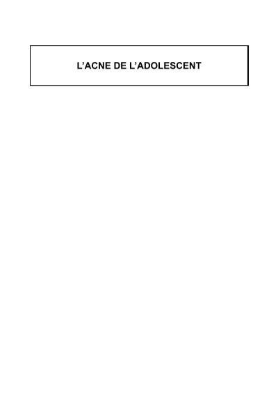 L'ACNE DE L'ADOLESCENT - MedQual