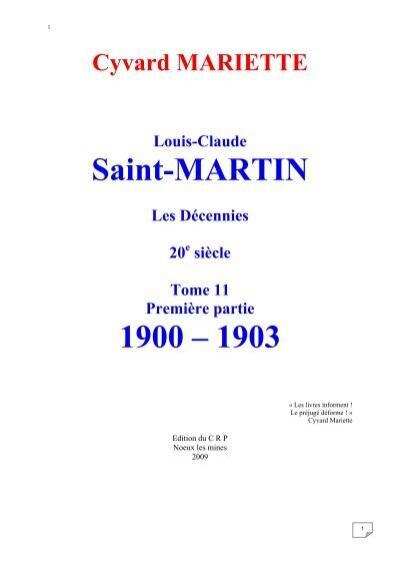 Cyvard Mariette Louis Claude Saint Martin Les Martinisme Be