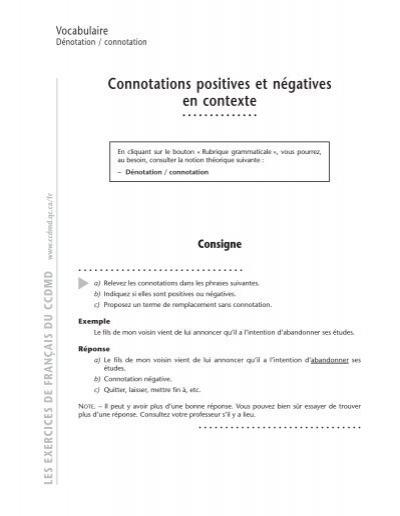Connotations Positives Et Na C Gatives En Contexte Ccdmd