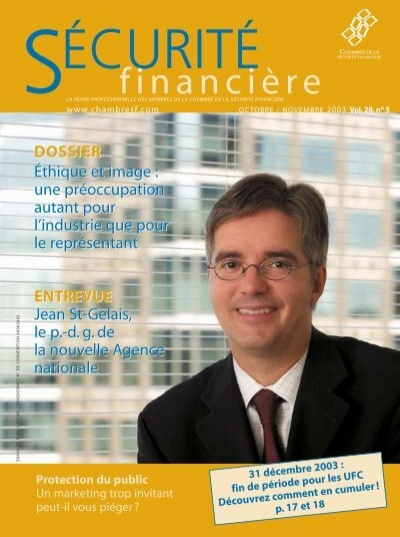 Octobre novembre 2003 vol 28 no 5 chambre de la for Chambre de securite financiere