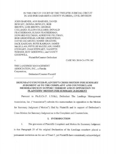 Defendant Counter Plaintiff S S Cross Motion For Summary