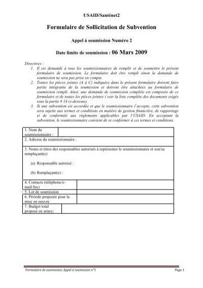 Formulaire De Soumission Site Web Du Projet Usaid Santenet2