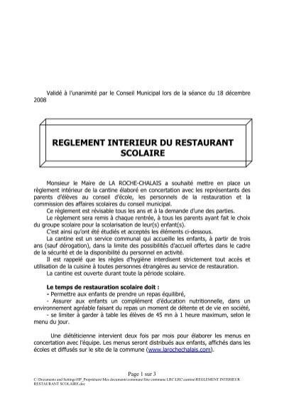 Reglement interieur restaurant scolaire la roche chalais for Reglement interieur ce