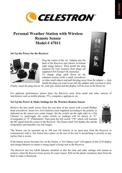 Personal Weather Station with Wireless Remote Sensor     - Celestron