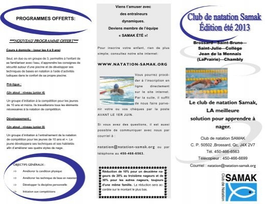 D pliant club t club de natation samak for Club piscine brossard