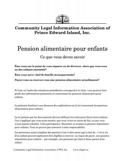 Pension Alimentaire Pour Enfants Community Legal Information