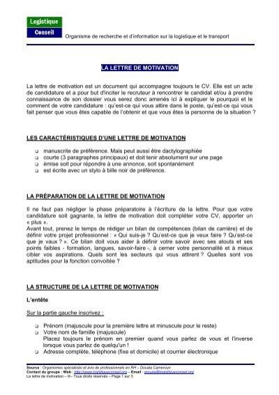 Astuces Pour Rediger Une Lettre De Motivation Logistique