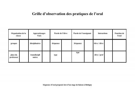 Grille d 39 observation des pratiques de l 39 oral - Grille d observation comportementale ...