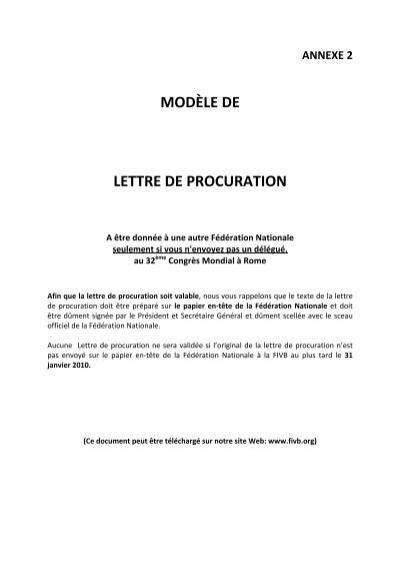 Annexe 2 Modaƒa Le De Lettre De Procuration Fivb