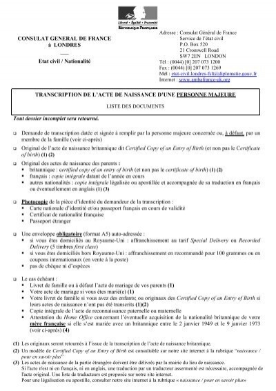 Tran Majeur Liste France In The United Kingdom