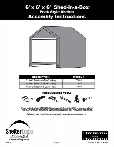 6 X 6 X 6 Shed In A Box Assembly Instructions Shelterlogic