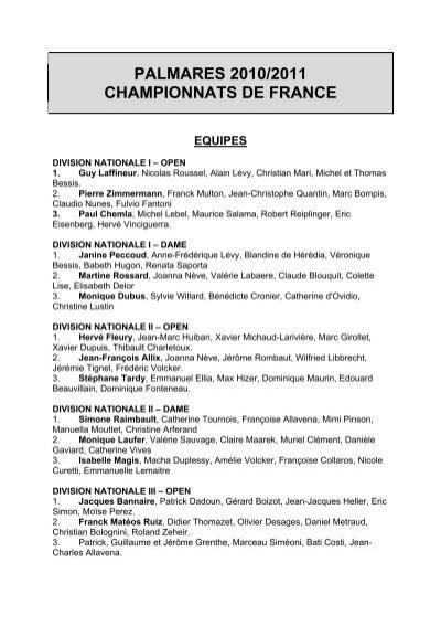 palmares 2010/2011 . championnats de france. equipes.…