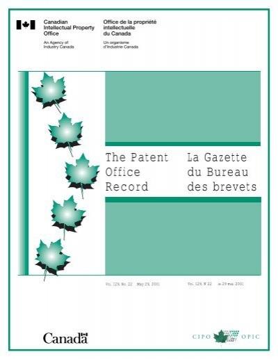 La Gazette Du Bureau Des Brevets The Patent Office Record