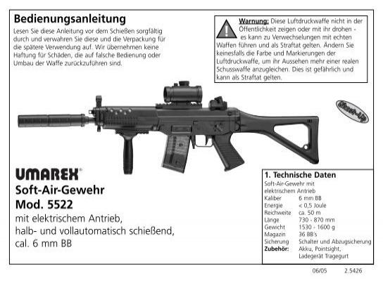 bedienungsanleitung soft air gewehr mod 5522 umarex rh yumpu com