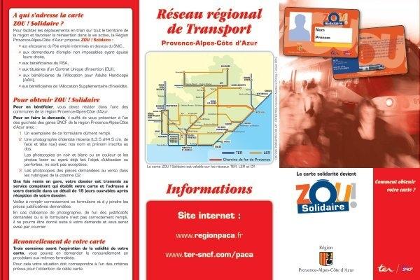 renouvellement carte zou solidaire Zou ! Solidaire   Région Provence Alpes Côte d'Azur