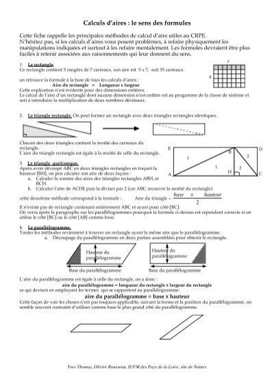 Calculs D Aires Le Sens Des Formules Primaths