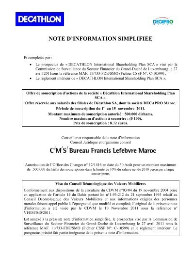 Decathlon International Shareholding Plan Sca Cdvm