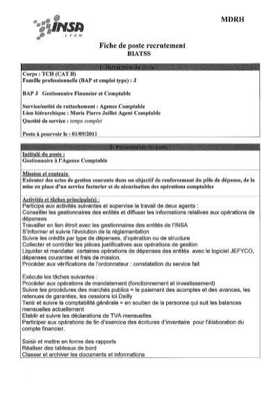 Fiche De Poste Recrutement Rhone Alpes Biep Fonction Publique