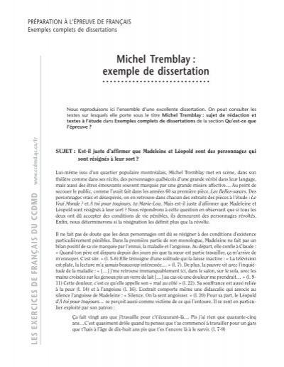 dissertation les belles soeurs michel tremblay