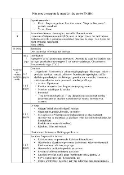 Plan Type De Rapport De Stage De 1ã Re Annã E Ensim
