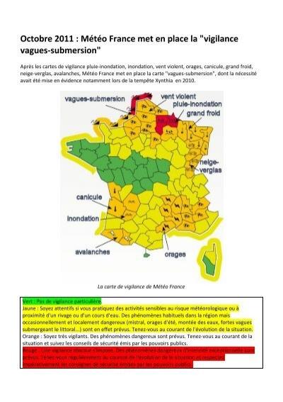 carte de vigilance carte de vigilance vagues submersion de Météo France