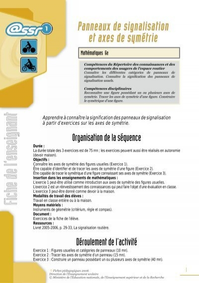 Souvent Panneaux de signalisation et axes de symétrie - Ministère de l  BP94