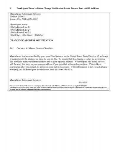 1 Participant Home Address Change Notification Letter Format Sent
