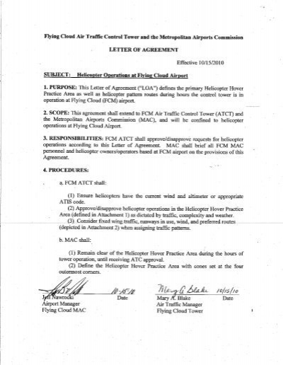 I Letter Of Agreement Metropolitan Airports Commission Noise