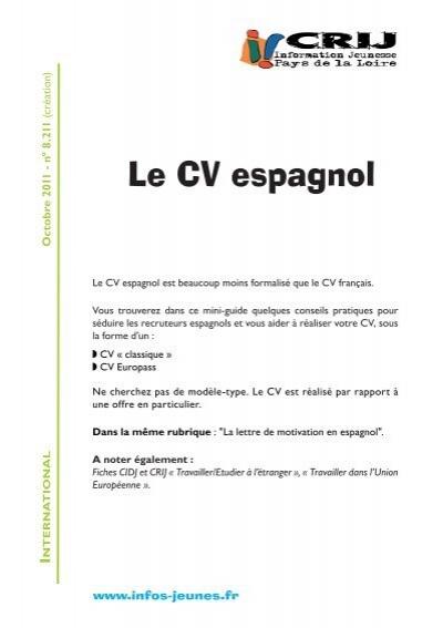 Le Cv Espagnol En Route Pour Le Monde