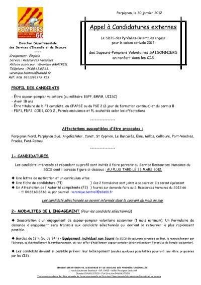 Appel ã Candidatures Externes Formulaire Cis Sdis 06