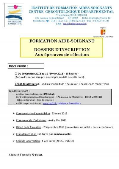 FORMATION AIDE-SOIGNANT DOSSIER D'INSCRIPTION Aux