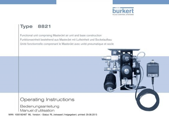 Operating Instructions Type 8821 Brkert Fluid Control Systems