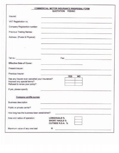 Commercial Motors Insurance proposal form – Proposal Form
