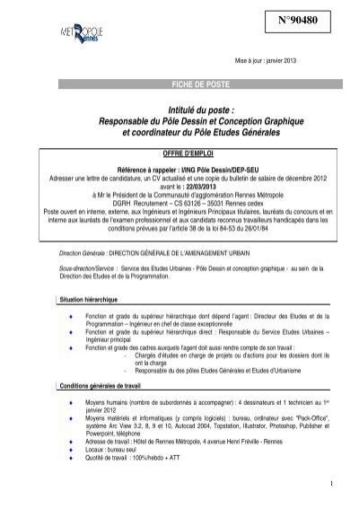 Responsable Du Pãle Dessin Et Conception Ville De Rennes