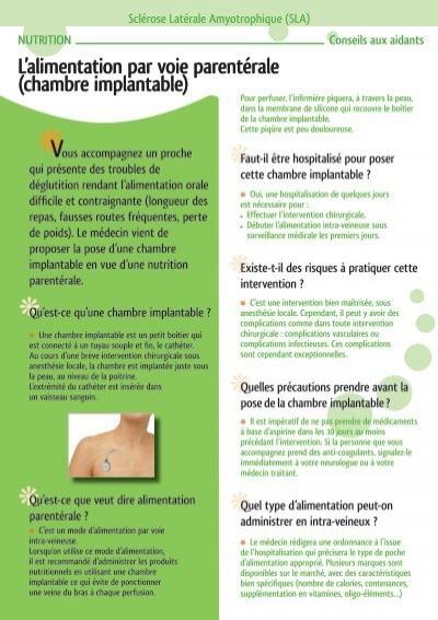 L Alimentation Par Voie Parenta C Rale Chambre Implantable L Arsla